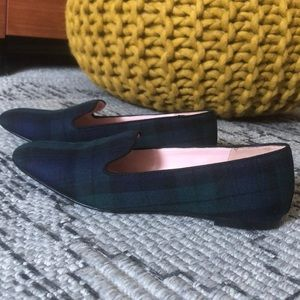 J Crew flats - green and navy plaid - size 7